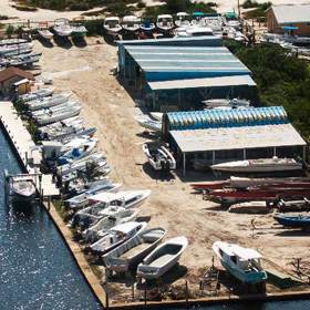 Aerial view of our Boatyard